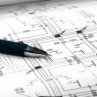 Architectural plans and pen — Stock Photo