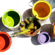 Cans with colors partly isolated over white — Stock Photo