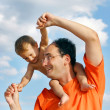 Happy father and son outdoors — Stock Photo