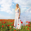 Young beautiful woman in white dress on poppy field background — Stock Photo