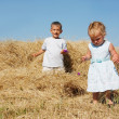 Two kids playing in hay — Stock Photo