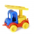 Toy-truck crane over white — Stock Photo