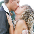 Kissing couple on their wedding day - Stock Photo