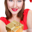 Santa girl with gift box over white — Stock Photo