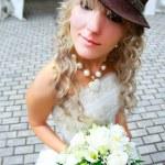 Funny bride in hat — Stock Photo