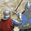 Two knights fighting - Stock Photo