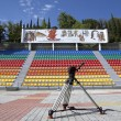 Tripod on empty stadium - Stockfoto