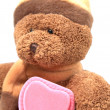 Teddy bear with pink heart box - Stock Photo