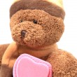 Teddy bear with pink heart box — Stock Photo