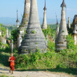 Stock Photo: Young monk walkng between stupas