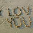 """I love you"" from seashells on sand beach - Stock Photo"