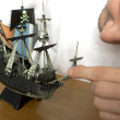 Model of pirate ship - Stock Photo