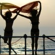 Silhouettes of two girls dancing with scarfs - Stock Photo