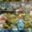 Welcome message with toy houses - Foto de Stock  