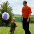 Stock Photo: Father and son playing football on nature