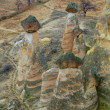 Stone formations in cappadocia, turkey - Stock Photo