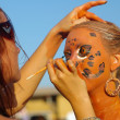 Young girl painted as jaguar - Foto de Stock