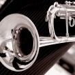 Black and white trumpet close up - Stock Photo