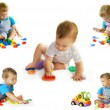 Stock Photo: Playing baby-boy over white collection