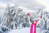Happy gilr on winter forest background — Stock Photo