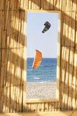 Duas asas no mar, ver através de janela — Foto Stock