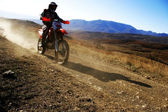 Moto racer en route — Stock Photo