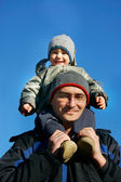 Father and son winter portrait — Stock Photo
