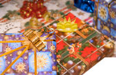 Several giftboxes partly isolated over white — Stock Photo