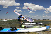Windsurfer ready to start — Stock Photo