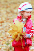 Cute girl with autumn leaves on natural background — Stock Photo