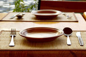 Tableware served for mealtime — Stock Photo