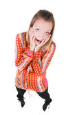 Funny portrait of surprised girl over white — Stock Photo