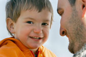 Father and son, focus on child — Stock Photo