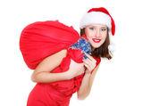 Bella ragazza di santa con regali sopra bianco — Foto Stock
