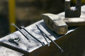 Close up of hammer and tools — Stock Photo