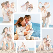 Set happy family on beach photos — Stock Photo