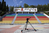 Stativ auf leere stadion — Stockfoto