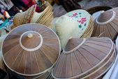 Straw hats, market, Myanmar — Stock Photo