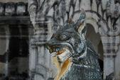 Old sculpture on blurred background — Zdjęcie stockowe