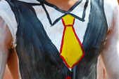 Male torso in painted tuxedo — Stock Photo
