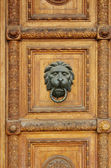 Wooden door with lion-head door-knob — Stock Photo