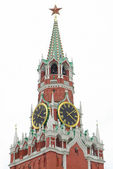 Kremlin tower with clocks over white — Stock Photo