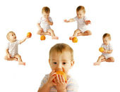 Baby with orange over white collection — Stock Photo