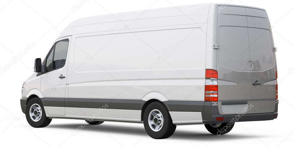 Rear angle of cargo van car on a white background — Stock Photo #13668248