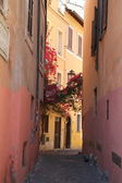 Small Alley with Bougainvillea Flowers in Rome, Italy — Stock Photo