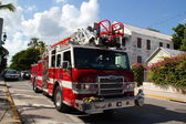 Key West's Firetruck Driving Back to the Brigade Central — Stock Photo
