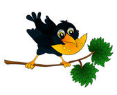 Raven on a branch with cheese in its beak — Stock Vector