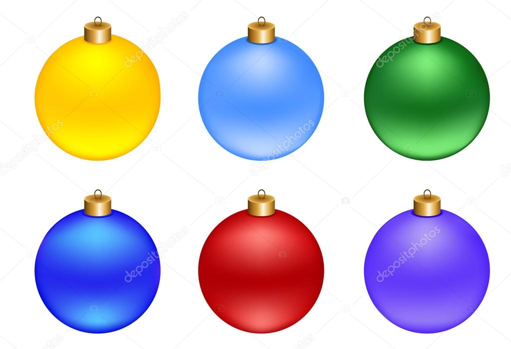 Set of Christmas decorations balls, isolated on white — Stock Vector #16348095