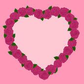Lindo quadro de rosas em um coração — Vetorial Stock