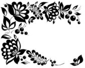 Black-and-white flowers and leaves. Floral design element in retro style — Stock Vector